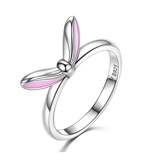 Bamoer Sterling Silver Lucky Enamel Luck Rabbit Bunny Ears Stackable Ring Size 6-8 - C9184QA672M