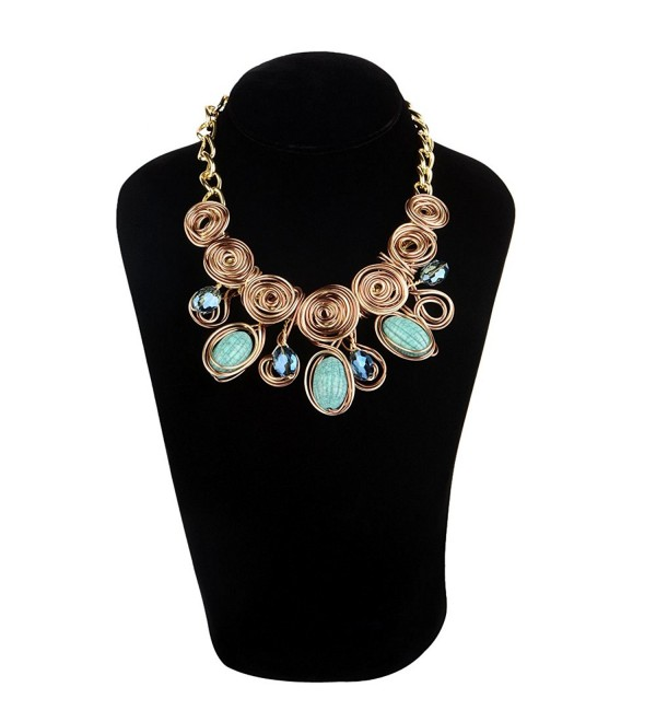 STRIPES Present Golden Colour metal coil design with Crystal and Beads Designer Bib Statement Necklace - CW183GKA6Y2