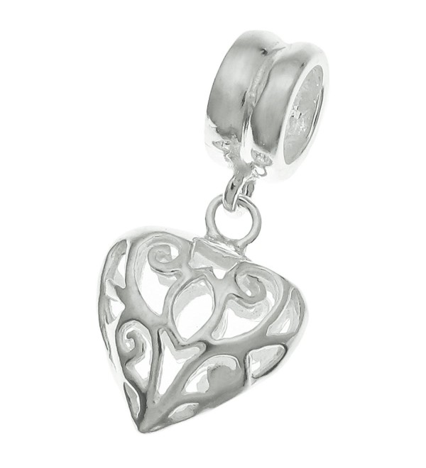 925 Sterling Silver Heart Love Dangle Bead For European Charm Bracelets - CP11FDVO03L