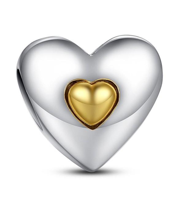 Everbling Heart 925 Sterling Silver Bead Fits European Charm Bracelet - CC1884M34T9