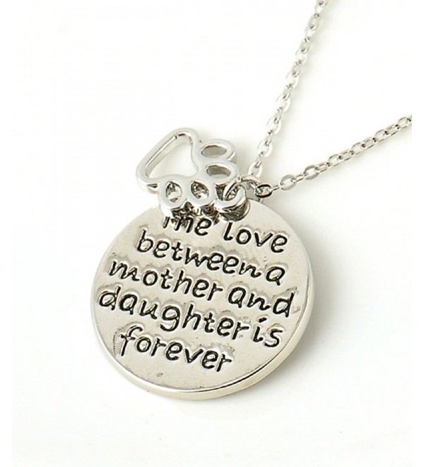 The Love Between Mother and Daughter Is Forever Silver Necklace Shoppingbuyfaith - C41254WSPL1