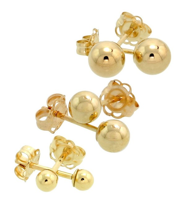 3-Pair 10k Gold Ball Earrings Set / Cartilage Nose Studs- 3mm 4mm 5mm - CK115M7JOR3