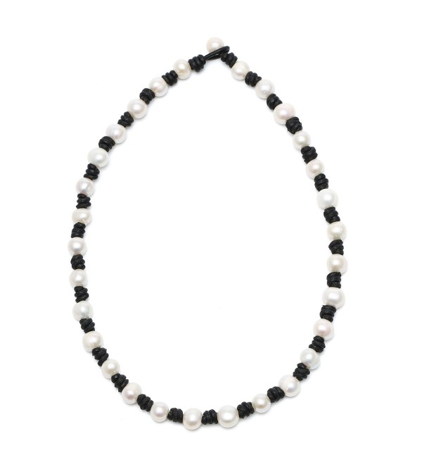 "Aobei Pearl Women's Knotted Freshwater Cultured Pearls Leather Choker Necklace with Genuine White Pearl 18"" - CB12F67QELR"