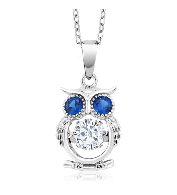 Dancing 925 Sterling Silver White and Blue CZ Owl Pendant With 18 Inch Chain - CX18366SC9U
