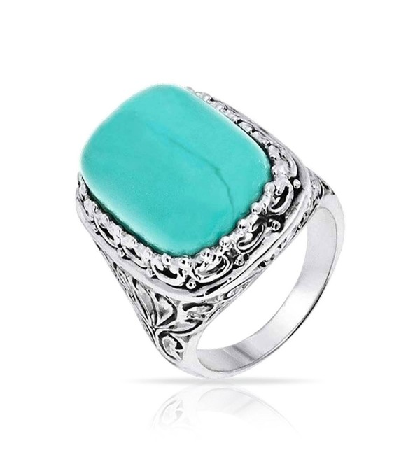 Bling Jewelry Filigree Reconstituted Turquoise Sterling Silver Cocktail Ring - CC11EK7ZA8R