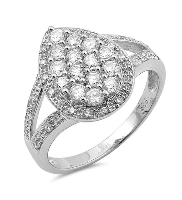 Teardrop Cluster White CZ Halo Ring New .925 Sterling Silver Band Sizes 5-10 - CH12JBXIDON