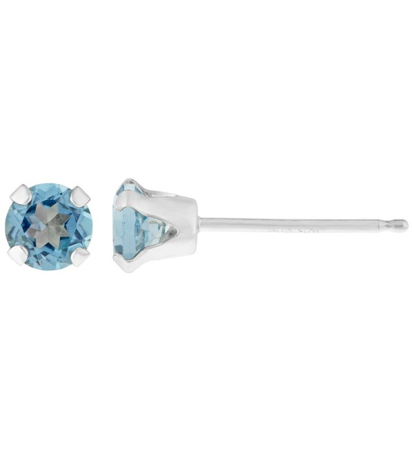 .60 CT Round 4MM Blue Topaz 14K White Gold Stud Birthstone Earrings - CF12G6RUUPR