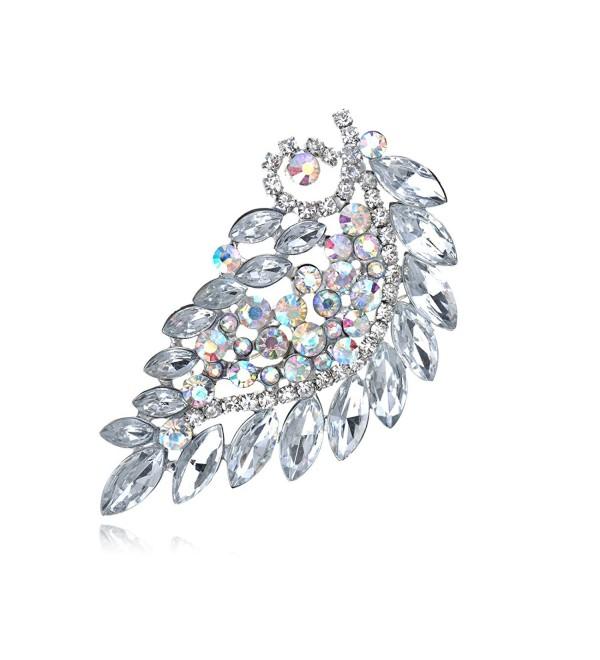 Alilang Clear Bridal Aurora Borealis Rhinestone Crystal Leaf Branch Flower Pin Brooch - C9115DOARVB
