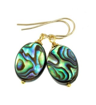 14k Gold Filled Mother of Pearl Abalone Shell Earrings Oval Peacock Blue Double Sided Simple MOP - C611YVYEB6R