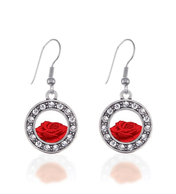 Red Rose Circle Charm Earrings French Hook Clear Crystal Rhinestones - CM124BUHXNX