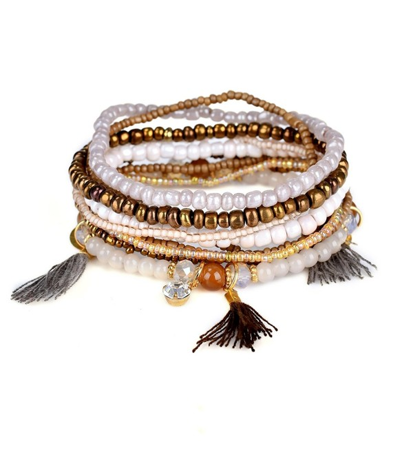 Bohemian Beaded Bracelet Brown Stretch Strand Wrap With Charm Layered Three Tassels RareLove - Brown - CO1836WTMNU