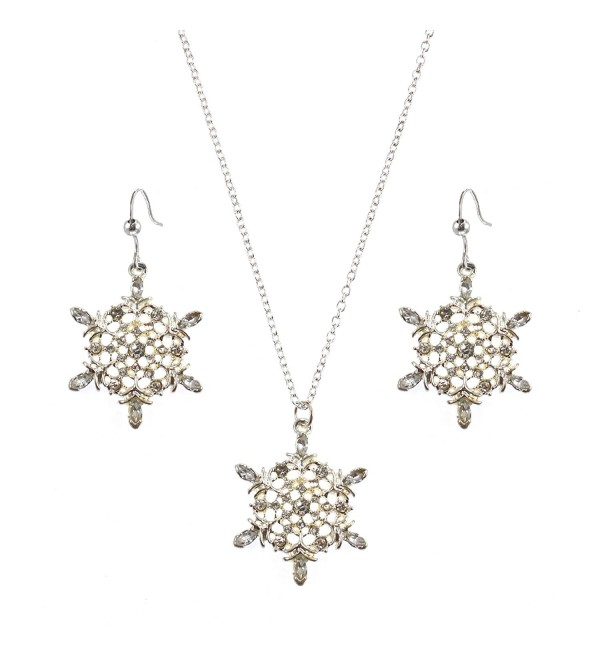 Macy's Holiday Lane Silver-Tone Snowflake Pendant Necklace and Dangle Earring Set - CX11H4JUTRV