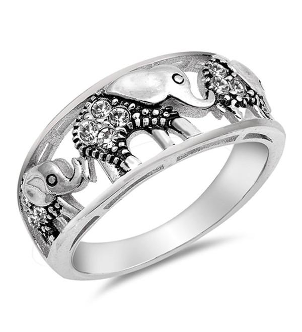 White CZ Filigree Elephant Ring .925 Sterling Silver Bali Bead Band Sizes 4-10 - C0182YLOZOE