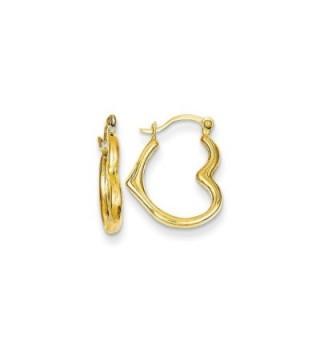 14K Gold Heart Shaped Hollow Hoop Earrings (0.63 in x 0.51 in) - C511DJXI0EZ