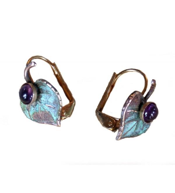 Verdigris Patina Brass Mulberry Leaf Earrings - Amethyst - CT1171CO9EZ