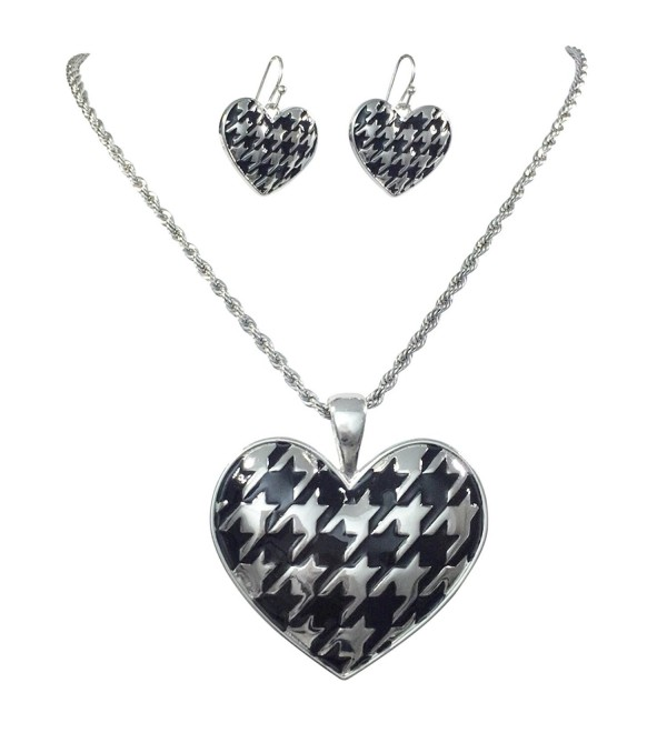 Houndstooth Heart Silver Tone Necklace & Dangle Earrings Set Alabama Crimson Tide - C812J4ZPM97