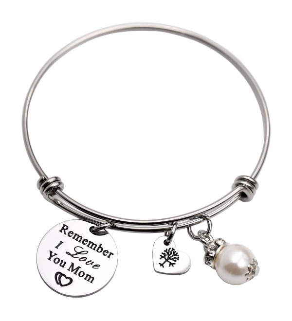 Remember I Love You Mom Gift for Mom Mother Bangle Bracelet Family Tree Charm bracelets for Women - White - CI1895OW3YU
