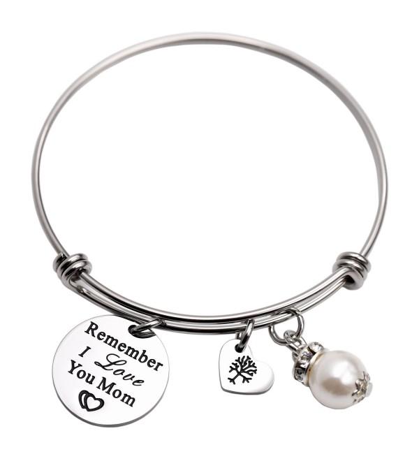 e98b0f6b3141 Remember I Love You Mom Gift for Mom Mother Bangle Bracelet Family Tree  Charm bracelets for Women - White - CI1895OW3YU