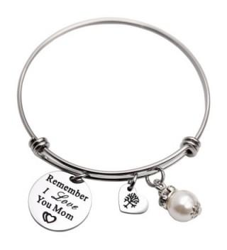 Remember I Love You Mom Gift for Mom Mother Bangle Bracelet Family Tree Charm bracelets for Women - White - CI1895OW3YU