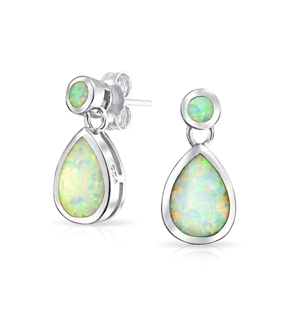 Bling Jewelry Synthetic White Opal Teardrop Sterling Silver Dangle Earrings - CH11JU10GOH