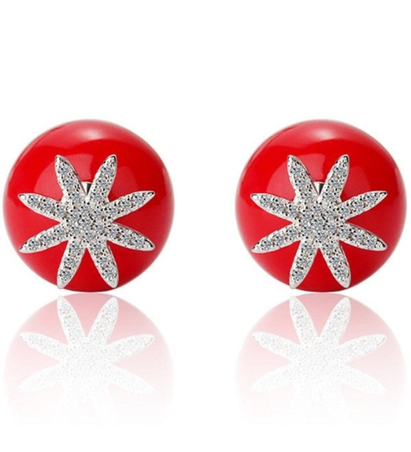 925 Sterling Silver Front Back Double Sided Red Bead Pearl Stud Earring for Women Crystal Charms - C0185A3Z2AK