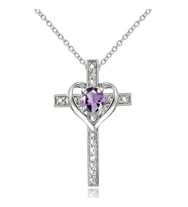 Sterling Silver Gem Cross Heart Pendant Necklace for Girls- Teens or Women - Amethyst - Silver - CM12EL1W7AP