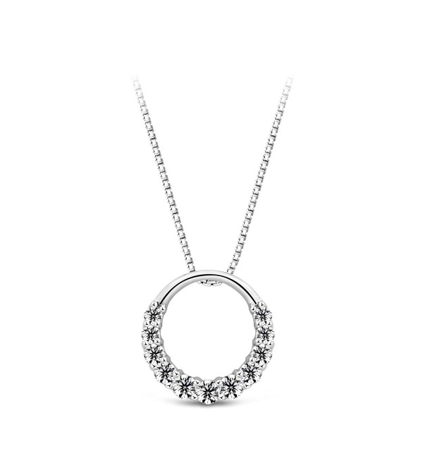 "T400 Jewelers 925 Sterling Silver ""Haeundae"" Eternity Circle Pendant Necklace- 18"" Love Gift - CT11VO1QUUP"