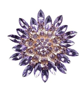 SANWOOD Women Fashion Rhinestone Flower Wedding Bridal Bouquet Brooch broaches Pin breastpin (Purple) - CJ182OHIZG9