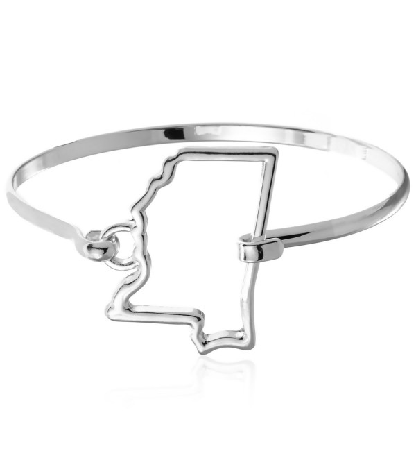 PammyJ Silvertone State of Mississippi Bangle Bracelet - C712D8ONE8L