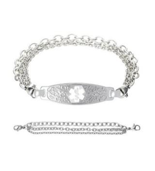 Divoti Custom Engraved Beautiful Olive Medical Alert Bracelet -Tri-Strand Stainless -White - C9188L3QRKG