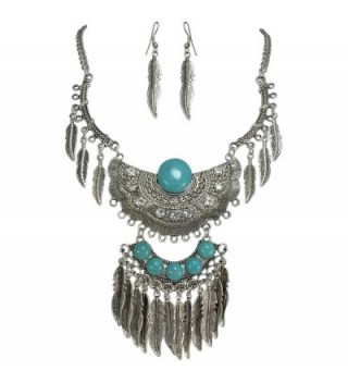 Simulated Turquoise Silver Tone Western Southwestern Look Necklace & Dangle Earring Set - C212M1JD49D