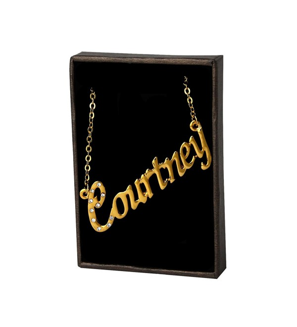 "Name Necklace ""Courtney"" - 18K Yellow Gold Plated - C611LEHCFEJ"