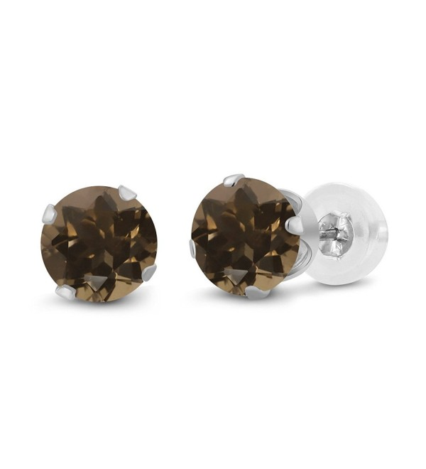 0.52 Ct Round 4mm Brown Smoky Quartz 14K White Gold Stud Earrings - C711H7OEYQZ