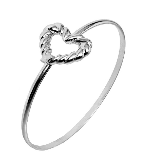 Cape Cod Jewelry-CCJ Rope Open Heart Latch Cuff SilverTone Love Bracelet - CM129CJMT7X
