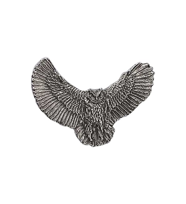 Creative Pewter Designs- Pewter Great Horned Owl Full Body Handcrafted Bird Lapel Pin Brooch- B067 - CK122XIM37L