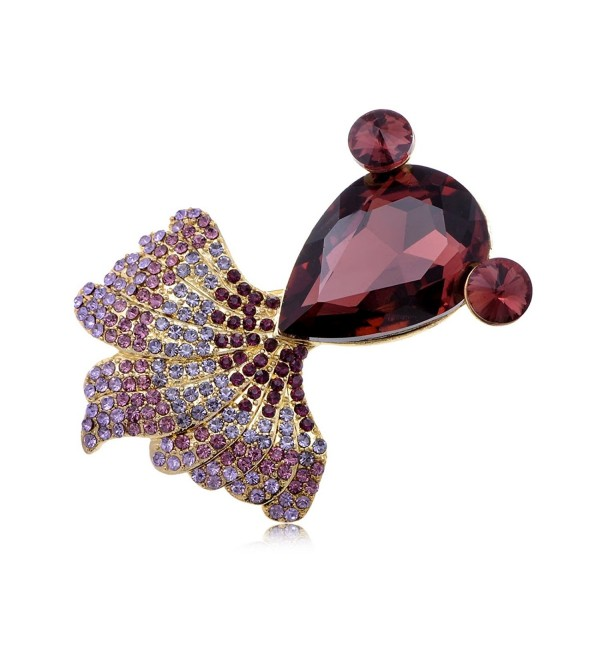 Alilang Crystal Rhinestone Fish Jewelry Pin Brooch - Rose Red - C411FIRNLP3