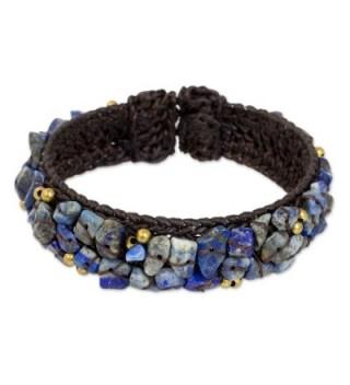 "NOVICA Lapis Lazuli Woven Cuff Bracelet- 6.5""- 'Ocean Day' - CU127TK7YSL"