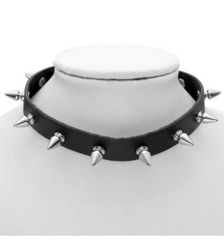 Womens Vintage Studded Leather Necklace