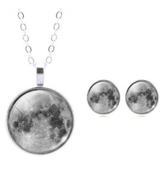 Jiayiqi Women Unique Galaxy Lunar Surface Moonscape Gem Pendant Necklace Stud Earrings Jewelry Set - CO124V108OX