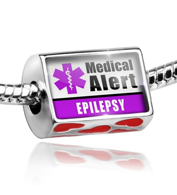 Bead with Hearts Medical Alert Purple Epilepsy - Charm Fit All European Bracele - CU11EF15I63