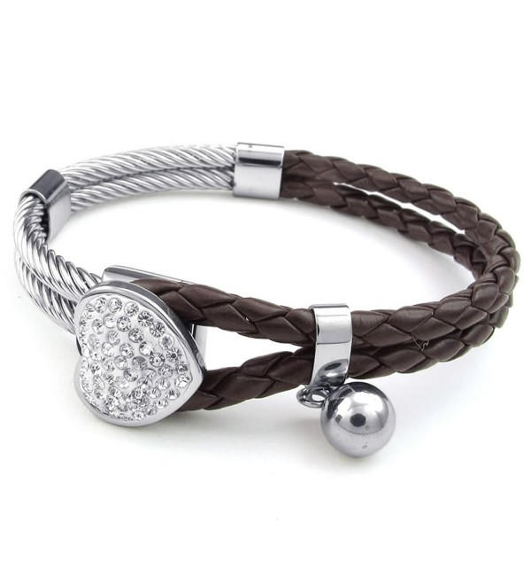 KONOV Womens Leather Stainless Steel Bracelet- Heart Charm Braided Cuff Bangle- Brown Silver - CG11NHOGAY7