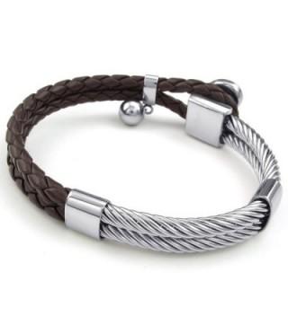 KONOV Leather Stainless Bracelet Braided in Women's Cuff Bracelets