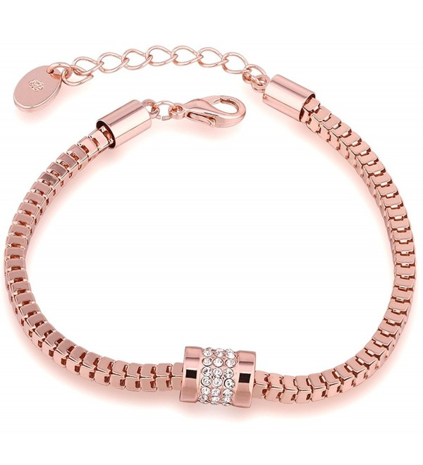 Annymall Rose Gold Plated Fashion Jewelry Crystals Unique link Bracelet for Women Girls - CJ185D7E958