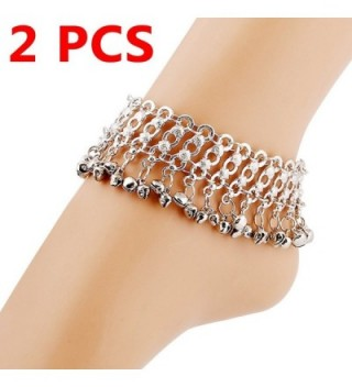 YallFF 2 PC Women Vintage Bohemian Belly Dance Silver Jingling Bells Ankles Bracelets Barefoot Sandals - CB17YQ06KK0