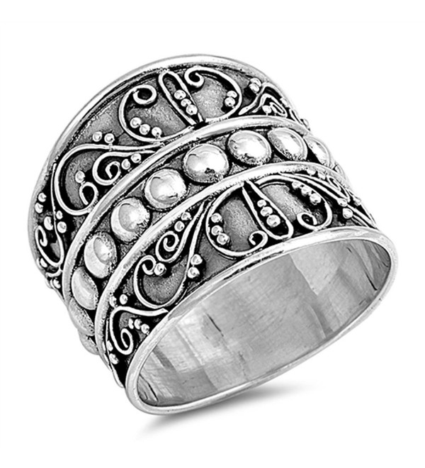 Bali Bead Wide Fashion Ring New .925 Sterling Silver Thin Band Sizes 5-12 - CX12BDSRWRX