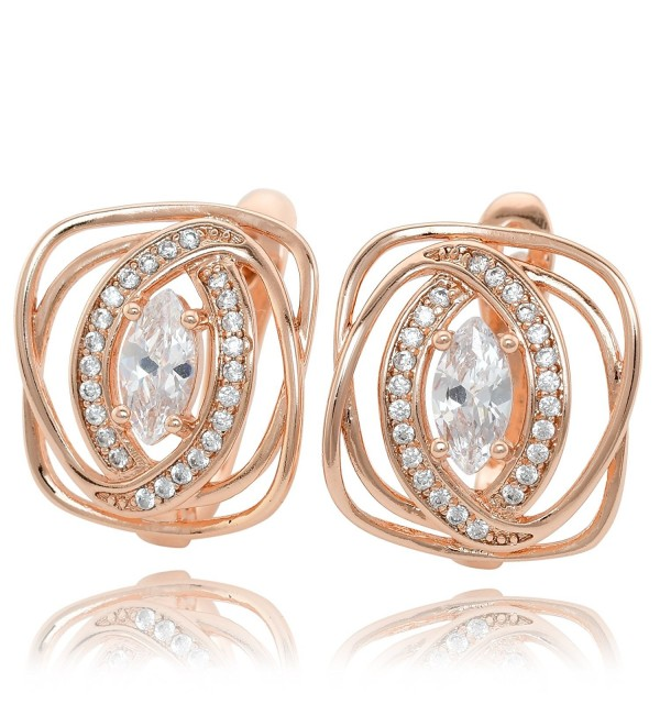 Olivia Star Rose Gold Plated Hypoallergenic Earrings for Women 鈩?5107 CZ Cubic Zirconia - C6189ZUSX4X