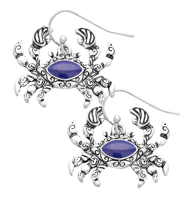 Liavy's Antique Crab Fashionable Earrings - Blue Enamel - Vine Filigree - Fish Hook - Unique Gift and Souvenir - CB12G4B88FT