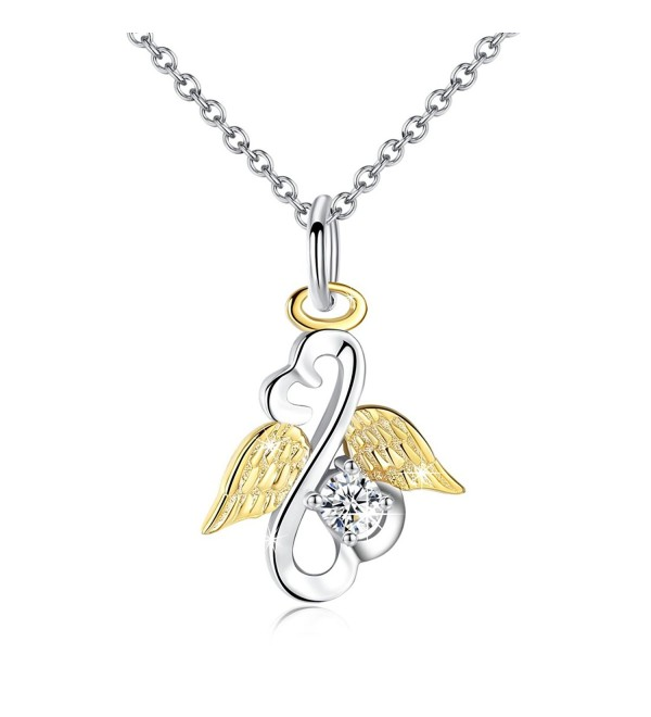 Gold Plated Wings Angel Necklace with Crystal Open Your Heart Sterling Silver Women Jewelry - CD188T379I4