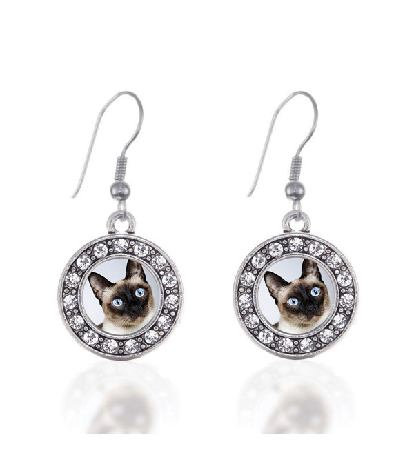 Siamese Cat Circle Charm Earrings French Hook Clear Crystal Rhinestones - CY124BUYJZ3