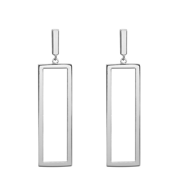 LILIE&WHITE Women Oblong Metal Geometric Rectangle shape Drop Dangle Earrings For Women - Imitation Rhodium - C117YIAD5DX